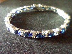 LCS SAPPHIRE DIAMOND TENNIS BRACELET+ free RING SZ 5 SZ 6 SZ 7 SZ 8 SZ 9 7 INCH #EXCEPTIONALBUY #WithDiamondsGemstones