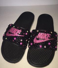 55c6b2a44c5225 Custom Bling Nike Flip Flop Slides Benassi Embellished with high quality  rhinestones and pearls