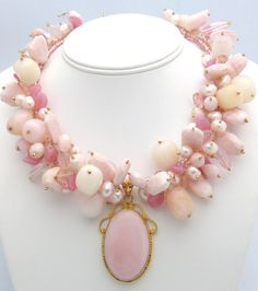 Necklace of Peruvian opal, cultured freshwater pearls and vintage pink beads
