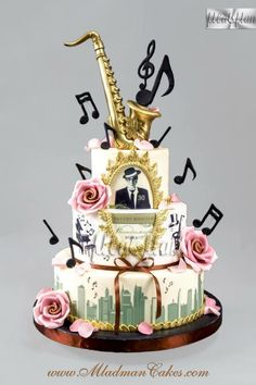 Cake by Mladman Cakes. Even the saxophone is edible! Music Birthday Cakes, Music Themed Cakes, Music Cakes, Fancy Cakes, Cute Cakes, Fondant Cakes, Cupcake Cakes, Bolo Musical, Novelty Cakes