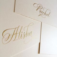 Working on placecards for a bridal shower and using Dr. Ph Martins Copperplate gold ink this time around! Definitely darker than the PearlEx Brillant Gold pigments but when it dries it still glistens in a way that triggers all my calligranerd hormones  #widn #placecards #bridalshower #namecards #goldink #calligraphy #copperplate #flourishforum #flourishing #pointedpen #weddingseason by logos_calligraphy