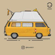 KombiT1: Happy Van Love Yellow VW T3 Camper House Flat Design