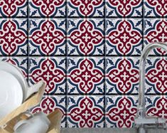 Tile/wall decal : Kitchen/ Bathroom Moroccan tile by Bleucoin