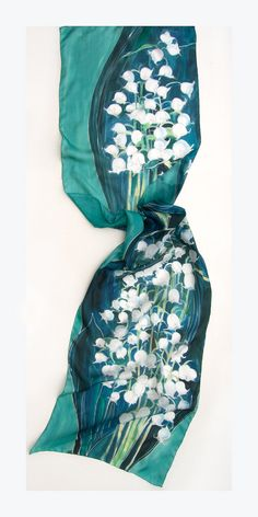Silk Scarf Lily of The Valley Hand painted scarf Denim by klaradar