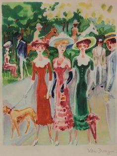 Kees van Dongen - Gilberta Swann con sus amigas en el Bois de Boulogne, 1947. Acuarela, gouache y grafito sobre papel. 24,6 x 21,2 cm.