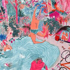 Don't just run into the weekend, jump! #Illustration by @mounifeddag . . . . #art #drawing #painting #swimming #illustratedart #millenialpink