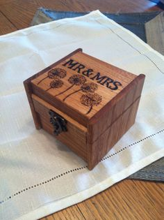 Wooden ring bearer box with Mr and Mrs and dandelion engraved design, wood engagement ring box personalized, ring bearer pillowAsk a Question$38.00USDOnly 1 available
