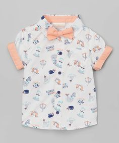 Love this White & Coral 'Ahoy' Button-Up & Bow Tie - Infant on #zulily! #zulilyfinds