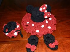 EXCLUSIVE Hand Crochet Toddler Girl Minnie Mouse 4 - pieces Outfit: Cap, tu-tu Skirt, Slippers and Purse - Pink or Red - taking orders. $85.00, via Etsy.