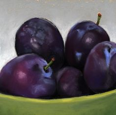 Original artwork from artist Ria Hills on the Daily Painters Gallery Plum Fruit, High Quality Wallpapers, Green And Purple, Still Life, Original Paintings, Pastel, The Originals, Artist, Ideas Para
