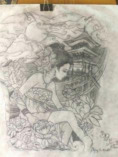 Japanese Geisha Tattoo, Japanese Dragon Tattoos, Japanese Tattoo Designs, Japanese Art, Thigh Piece Tattoos, Body Art Tattoos, Dibujos Tattoo, Geisha Art, Japan Tattoo
