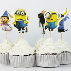 Find More Event & Party Supplies Information about Minions Party cupcake toppers picks decoration for kids birthday party favors Decoration supplies,High Quality cupcake collar,China cupcake decorating butterfly Suppliers, Cheap cupcake lollipops from Decor Specialist on Aliexpress.com