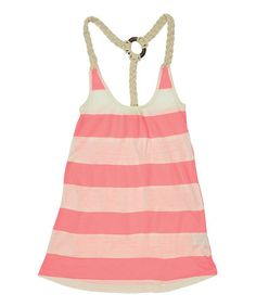Take a look at this Neon Pink Stripe Racerback Tank by Lagaci Sport on #zulily today!