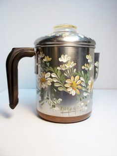 Coffee Pot Aluminum Copper Hand Painted by FolkArtByNancy on Etsy
