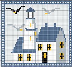 mer - sea - maison - phare - point de croix - cross stitch - Blog : http://broderiemimie44.canalblog.com/