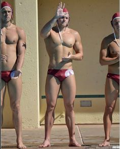 Manly men I find appealing. Rugby players in shorts, other hunks in shorts and underwear, hunks completely out of shorts and underwear. Water Polo Players, Male Chest, Red Swimsuit, Shorts With Tights, Athletic Men, Muscle Men, Sexy Feet, Hot Guys, Athlete