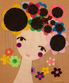 Handmade Felt Portrait Woman Felt Artwork Wall Hanging by Gaoui, $170.00