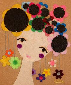Handmade Felt Portrait Woman Felt Artwork Wall Hanging by Gaoui, $170.00
