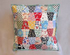 Quilted Pillow - Tumbler Quilt - Feedsack & Novelty Prints
