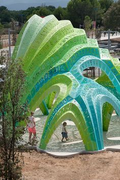 """Bringing together structural performance and spatial experience, Marc Fornes / THEVERYMANY's latest """"Structural Shingle"""" installation immerses students of Lycée Christian Bourquin in ornate shadows cast from porous structural pleats."""