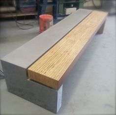 concrete and wood bench Concrete Wood Bench, Concrete Bathroom, Concrete Furniture, Urban Furniture, Street Furniture, Cool Furniture, Furniture Design, Outdoor Furniture, Wood Benches