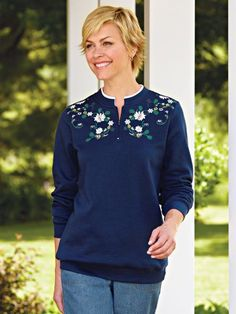 """""""Nice for the holidays!"""" ~ from  Wisconsin about the Poinsettia Fleece Top from Blair"""