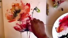 watercolour aquarelle poppies poppy painting demo come and have a lesson! http://www.michellebrown.ning.com