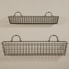 Wall Hanging Wire Baskets hanging wire basket wall mount metal storage organizer bin brown
