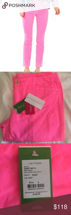0dfb7c7141e0a7 Hot Pink NWT Kelly Skinny Pants Lilly Pulitzer 8 NWT. Size 8 So fun,