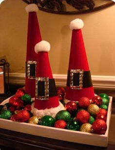 Santa hat centerpiece