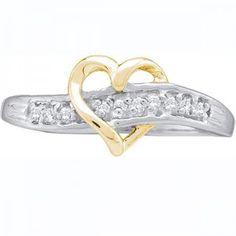 Thanks for Sharing!  0.05 Carat (ctw) 10K White Gold Round White Diamond Ladies Promise Crossover Heart Ring - Dazzling Rock #https://www.pinterest.com/dazzlingrock/