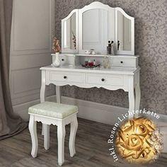 Mit diesem märchenhaften weißem #Kosmetiktisch wird die tägliche #Schminkroutine zum #Vergnügen. Die geschwungene #Optik macht den #Schminktisch zu einem besonderen #Möbelstück, das jeden Raum aufwertet.