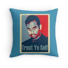 Treat yo Self parks and recreation throw pillows.