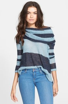 Free People 'Lulu' Rugby Stripe Cowl Neck Sweater available at #Nordstrom.  This sweater is good because it drapes around your catwalk body and the lines will give you curves.  Plus it looks super comfy.