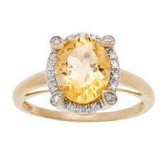 Viducci 10k Gold Oval Citrine and 1/8ct TDW Diamond Halo Ring (G-H, I1-I2) (Yellow Gold - size 7), Women's
