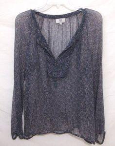 NOA NOA Denmark Peasant Blouse Sheer Floral Top Long Sleeves Pin Tuck Women XL #NOANOA #Blouse