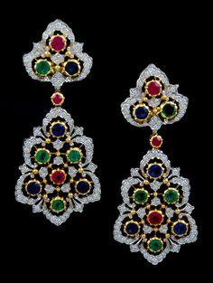 BUCCELLATI Diamond & Color Gem Stone Earrings.