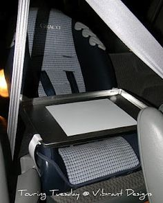Homemade travel tray for car seat**Would want to make from softer material so that it's safe in a crash - maybe foam??**