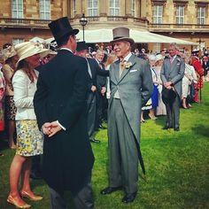 """The Duke of Edinburgh greets guests at a Buckingham Palace garden party on his 93rd birthday!  #HappybirthdayHRH"""