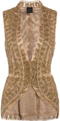 Vera Wang Gold Embroidered SilkMesh and Organza Jacket