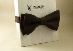 Classic Brown Bow Tie - Ready Tied Bow Tie - Adult Bow Tie - Mens bowtie - Groomsman, Wedding Bow Tie - Gift for Him - Mr.DEER by MrDEERbowtie on Etsy