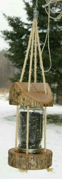 bird house feeder Mason Jar Log Bird Feeder: 9 Steps (with Pictures) Outdoor Projects, Garden Projects, Wood Projects, Projects To Try, Garden Ideas, Do It Yourself Projects, Be Kind To Yourself, Woodworking Plans, Woodworking Projects