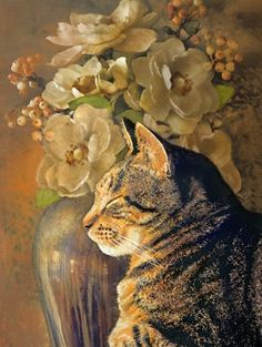 """Tabby Cat Still Life"" by Dianne Woods, Colorado artist specializing in pastels*"