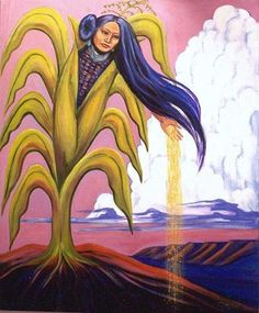 Corn Mother - MARGO TAMEZ - Corn Mother Corn Mother, also called Corn Maiden , mythological figure believed, among indigenous agricultural tribes in North America, to be responsible for the origin of corn (maize). Native American Paintings, Native American Artists, Indian Paintings, Abstract Paintings, Oil Paintings, Mexican Graphic Design, Indian Art Gallery, Navajo Art, Indigenous Art