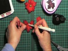 using maple leaf shape to create poinsettia All Paper, How To Make Paper, Cloth Flowers, Paper Flowers, Quilling Videos, Paper Punch Art, Paper Quilling Jewelry, Flower Video, Craft Punches