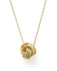 """14K Yellow Gold Love Knot Necklace, 18"""" 