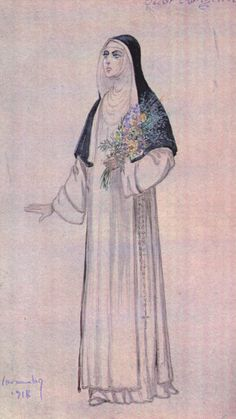 Costume sketch for Suor Angelica. Suor Angelica Première December 14,1918 at Metropolitan Opera House, New York.
