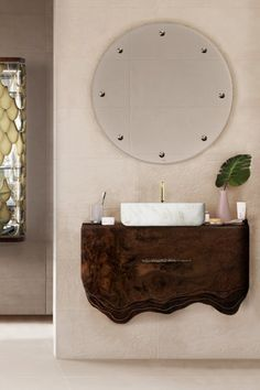 This design by Maison Valentina is a mix of modern and functional interior design bathroom, with Huang Suspension Cabinet, Koi Rectangular vessel sink and Glimmer Mirror.