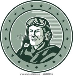 World War One Aviator Circle Retro Vector Stock Illustration. Illustration of a vintage world war one pilot airman aviator bust smiling set inside circle with stars done in retro style. People Illustration, Pencil Illustration, Retro Illustrations, Retro Vector, World War One, One Pilots, Creative Sketches, Paint Markers