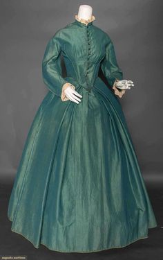 Teal Wool Day Dress, 1850s, Augusta Auctions, April 8, 2015 NYC
